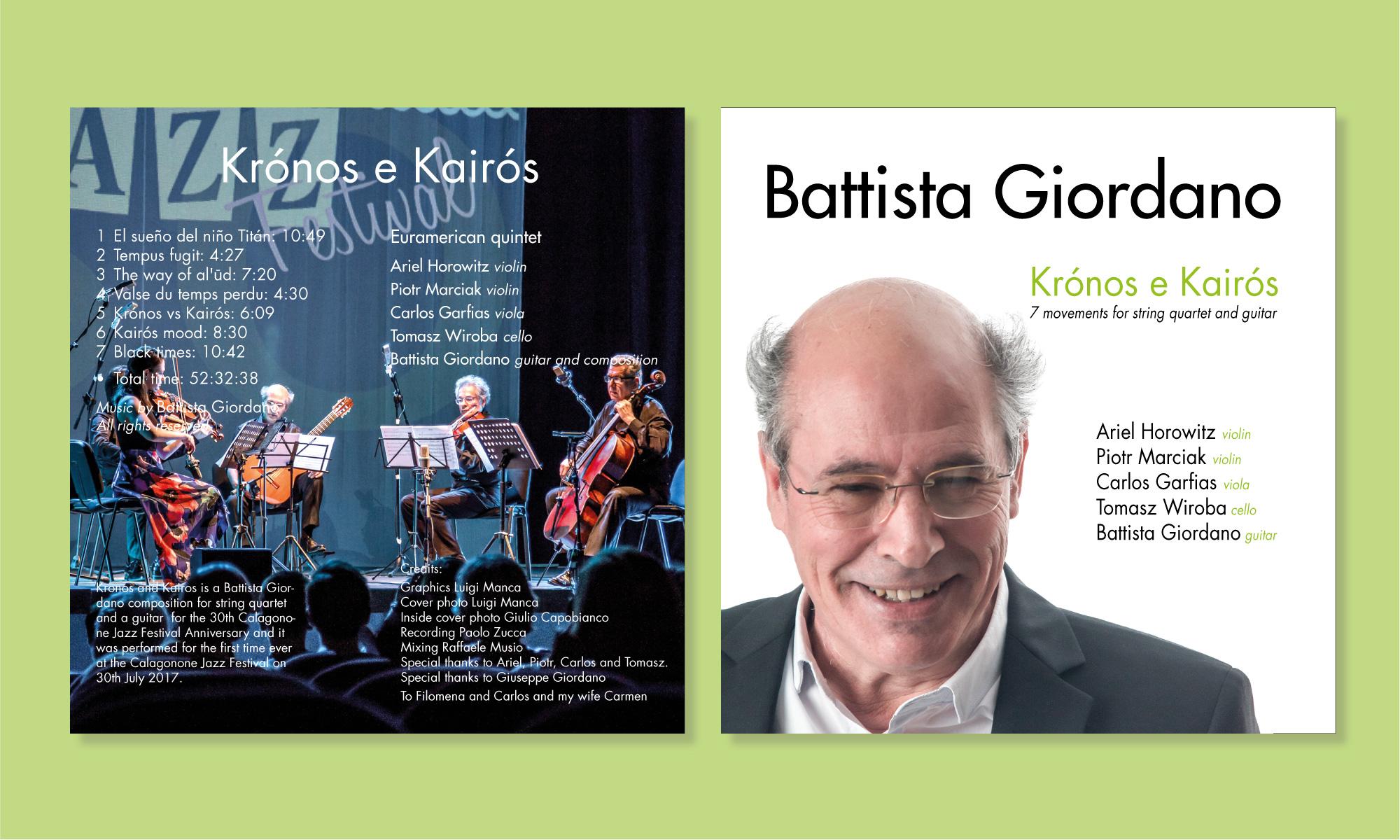 Studio grafico e fotografia per il CD musicale Kronos e Kairos di Battista Giordano