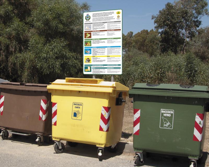 Progetto dei cartelli per la raccolta differenziata a Posada