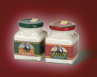 Studio grafico delle etichette per il formaggio Muflone